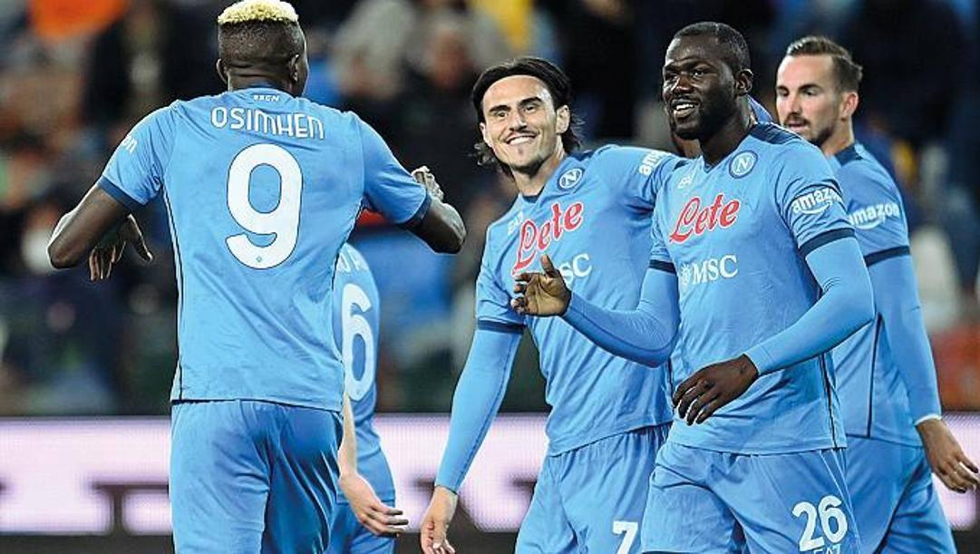 Un'esultanza del Napoli a Udine. Getty